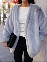 Недорогие -Жен. Пальто с мехом Классический - Однотонный