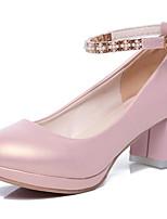 Недорогие -Жен. Балетки Полиуретан Осень Обувь на каблуках На толстом каблуке Белый / Черный / Розовый