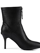 Недорогие -Жен. Fashion Boots Синтетика Зима Ботинки На шпильке Закрытый мыс Ботинки Черный / Винный