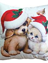 abordables -Housse de coussin Noël Coton Carré Nouveautés Décoration de Noël