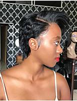 Недорогие -человеческие волосы Remy Полностью ленточные Парик Бразильские волосы Естественные волны Шелковисто-прямые Парик Стрижка боб Стрижка каскад Боковая часть 130% Плотность волос / Природные волосы