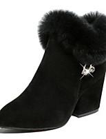 Недорогие -Жен. Fashion Boots Замша Зима На каждый день Ботинки На толстом каблуке Ботинки Стразы Черный / Серый