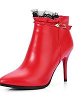 Недорогие -Жен. Fashion Boots Наппа Leather Зима Ботинки На шпильке Закрытый мыс Ботинки Черный / Красный