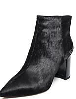 Недорогие -Жен. Fashion Boots Конский волос Зима Ботинки На толстом каблуке Закрытый мыс Ботинки Черный / Вино