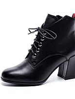 Недорогие -Жен. Fashion Boots Наппа Leather Осень Ботинки На толстом каблуке Закрытый мыс Ботинки Черный / Коричневый / Военно-зеленный