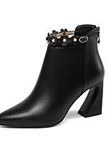 Недорогие -Жен. Fashion Boots Наппа Leather Осень Ботинки На толстом каблуке Закрытый мыс Ботинки Черный / Бежевый