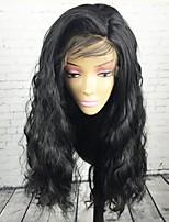 Недорогие -человеческие волосы Remy Полностью ленточные Парик Бразильские волосы Естественные волны Черный Парик Стрижка каскад 130% Плотность волос / Природные волосы / Необработанные / с детскими волосами