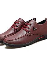 baratos -Homens Sapatos Confortáveis Couro Ecológico Outono Casual Oxfords Não escorregar Preto / Cinzento / Vermelho