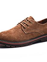 Недорогие -Муж. Кожаные ботинки Кожа Осень Винтаж / На каждый день Туфли на шнуровке Нескользкий Черный / Коричневый / Хаки