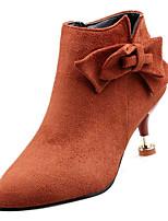 Недорогие -Жен. Fashion Boots Полиуретан Осень На каждый день Ботинки На каблуке-рюмочке Ботинки Бант Черный / Оранжевый / Лиловый
