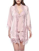 Недорогие -Жен. Асимметричный вырез Кружевное белье Пижамы Однотонный / Сексуальные платья