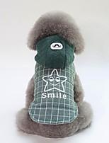 baratos -Cachorros Casacos Roupas para Cães Formais / Slogan Cinzento / Verde Algodão Ocasiões Especiais Para animais de estimação Unisexo Casual / Aquecimento