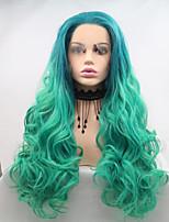 Недорогие -Синтетические кружевные передние парики Жен. Естественные кудри Зеленый Стрижка каскад 130% Человека Плотность волос Искусственные волосы 26 дюймовый Женский Зеленый Парик Средняя длина Лента спереди