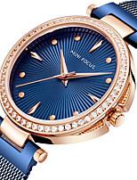 baratos -MINI FOCUS Mulheres Relógio de Pulso Quartzo 30 m Relógio Casual Legal Aço Inoxidável Banda Analógico Elegante Minimalista Azul / Prata / Dourada - Prata Azul Ouro Rose Um ano Ciclo de Vida da Bateria