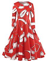 Недорогие -Жен. Винтаж / Элегантный стиль С летящей юбкой Платье - Геометрический принт, С принтом До колена