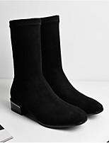 Недорогие -Жен. Fashion Boots Замша Осень Ботинки На толстом каблуке Закрытый мыс Сапоги до середины икры Черный / Серый / Коричневый