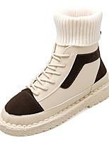 Недорогие -Жен. Fashion Boots Полиуретан Зима На каждый день Ботинки На плоской подошве Сапоги до середины икры Черный / Верблюжий / Контрастных цветов
