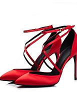 Недорогие -Жен. Комфортная обувь Сатин Лето Обувь на каблуках На шпильке Черный / Красный