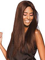 baratos -Cabelo Remy Frente de Malha Peruca Cabelo Brasileiro Liso Peruca 150% com o cabelo do bebê / Sedoso / Riscas Naturais Marrom Mulheres Longo Perucas de Cabelo Natural