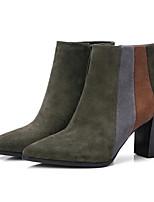 Недорогие -Жен. Fashion Boots Наппа Leather Осень Ботинки На толстом каблуке Закрытый мыс Ботинки Черный / Военно-зеленный