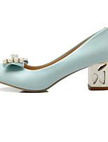Недорогие -Жен. Балетки Полиуретан Весна Обувь на каблуках На толстом каблуке Белый / Синий / Розовый