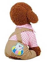 baratos -Cachorros Camiseta / Roupa / Calças Roupas para Cães Bordados Elegantes / Xadrez / Flor Azul / Rosa claro Tecido Ocasiões Especiais Para animais de estimação Masculino Casual / Estilo simples