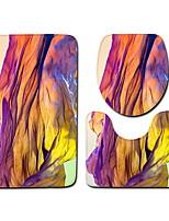 baratos -3 Peças Modern Tapetes Anti-Derrapantes Poliéster Elástico Tricotado 100g / m2 Criativo Irregular Banheiro Legal