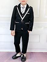 Недорогие -Дети Мальчики Классический Однотонный Длинный рукав Хлопок / Полиэстер Набор одежды Черный