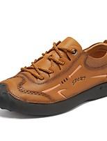 Недорогие -Муж. Кожаные ботинки Наппа Leather Весна Винтаж / На каждый день Туфли на шнуровке Сохраняет тепло Кофейный / Коричневый