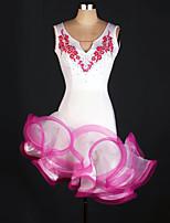 baratos -Dança Latina Vestidos Mulheres Treino Elastano / Tule Apliques / Cristal / Strass Sem Manga Alto Vestido