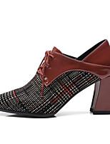 Недорогие -Жен. Балетки Наппа Leather Осень Обувь на каблуках На толстом каблуке Черный / Коричневый