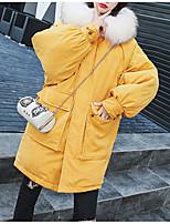 Недорогие -Жен. Повседневные Однотонный Обычная Пуховик, Полиэфир Длинный рукав Капюшон Красный / Желтый / Светло-синий L / XL / XXL