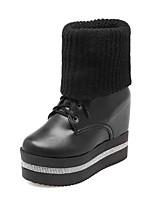 Недорогие -Жен. Комфортная обувь Наппа Leather Наступила зима Ботинки Микропоры Сапоги до середины икры Черный / Коричневый