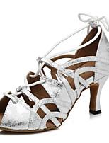 abordables -Femme Chaussures Latines Cuir Verni Sandale Ruban Talon épais Chaussures de danse Or / Blanc / argent