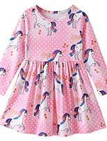 Недорогие -Дети Девочки Животное Длинный рукав Платье