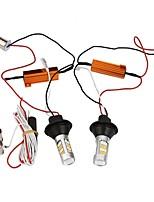 abordables -2pcs lampe de clignotant 1156 bau15s 42leds double couleur blanc&voiture de jour jaune voiture drl winker dc12v