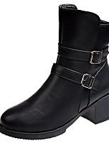 Недорогие -Жен. Fashion Boots Полиуретан Наступила зима На каждый день Ботинки Блочная пятка Круглый носок Сапоги до середины икры Черный