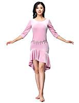 baratos -Dança do Ventre Vestidos Mulheres Treino Elastano Franzido Meia Manga Alto Vestido