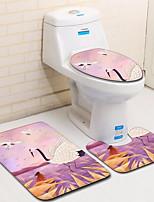 Недорогие -3 предмета Мультяшная тематика Коврики для ванны 100 г / м2 полиэфирный стреч-трикотаж Животное Прямоугольная Ванная комната Новый дизайн