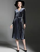 Недорогие -Жен. Элегантный стиль А-силуэт Платье - Однотонный, Плиссировка Средней длины