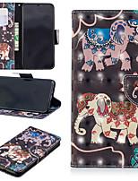 baratos -Capinha Para Apple iPhone XS / iPhone XS Max Carteira / Porta-Cartão / Com Suporte Capa Proteção Completa Elefante Rígida PU Leather para iPhone XS / iPhone XR / iPhone XS Max