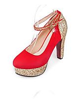 Недорогие -Жен. Комфортная обувь Замша Весна Обувь на каблуках На шпильке Черный / Красный