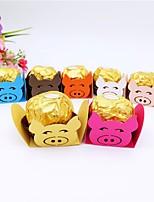 Недорогие -Кубик Мелованная бумага Фавор держатель с Вышивка бисером в виде цветов / Комбинация материалов Подарочные коробки - 50шт