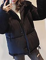 Недорогие -Жен. Повседневные Однотонный Обычная На подкладке, Полиэстер Длинный рукав Рубашечный воротник Черный / Бежевый / Серый M / L / XL / Тонкие