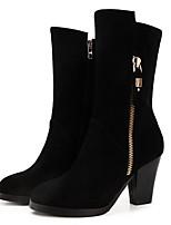 Недорогие -Жен. Fashion Boots Замша Наступила зима Ботинки На толстом каблуке Черный