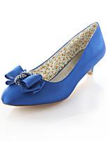 baratos -Mulheres Stiletto Cetim Outono Sapatos De Casamento Salto Sabrina Ponta Redonda Cristais Roxo / Azul / Champanhe / Festas & Noite