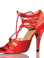 baratos -Mulheres Sapatos de Dança Latina Cetim Salto Recortes Salto Carretel Sapatos de Dança Vermelho