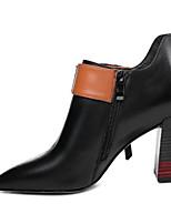 Недорогие -Жен. Fashion Boots Наппа Leather Осень Ботинки На толстом каблуке Ботинки Черный / Бежевый