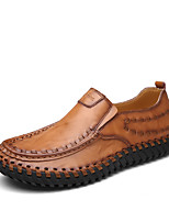 Недорогие -Муж. Кожаные ботинки Кожа Осень Винтаж / На каждый день Мокасины и Свитер Сохраняет тепло Черный / Коричневый