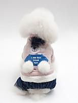 baratos -Cachorros Casacos Roupas para Cães Animal / Personagem Cinzento / Rosa claro Algodão Ocasiões Especiais Para animais de estimação Unisexo Aquecimento / Estilo simples
